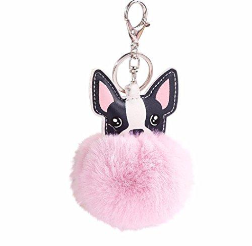 Llaveros de Perro Animal Lindos, Holacha Anillo de Llave de Piel de Conejo Colgante para Mujer Chica Accesorios de Teléfono Coche Bolsos (rosa)