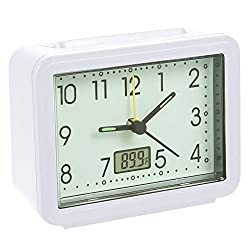 Travel Analog Alarm Clock;Silent Non Ticking,Beep Sounds Wake Up,Glow in The Dark,Battery Operated Portable Alarm Clock with Fahrenheit Thermometer for Office Desk Bedrooms Bedside Nightstand