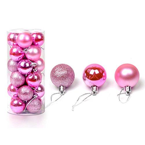 Baogu 24 Stück Weihnachtskugeln Glänzend Glitzernd Matt Christbaumschmuck bis 8cm Pink