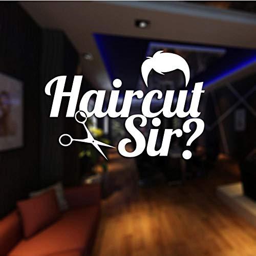 MRQXDP Barber Shop Sticker op maat Decal Posters Vinyl Wall Art Decor Ramen Decoratie Haircut Shavers Glass Decals 39x58cm Muursticker