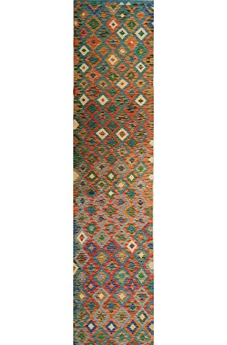 Mollaian Passatoia Kilim 394 x 81, Kilim Kaudani, Colori Sono Naturali e vegetali, Spessore 3.5 mm e Un Peso per Ogni mq di 1,2 kg, 2 Anni Garanzia