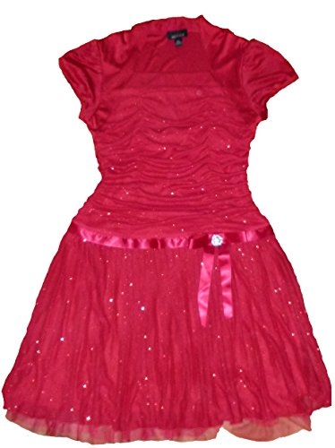 Amy's Closet Girls Red Sparkle Plus Size Dress with Attached Shrug (18.5 Plus Size)