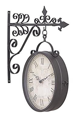 Deco 79 35414 Metal Outdoor Double Clock