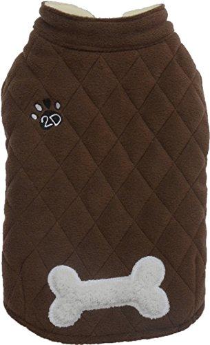 Doggydolly W349 Winterjas, mouwloos, met bot en borduurwerk 2D-paal, uiterst comfortabel, XS (Brust 31-33cm;Rücken 18-20cm), bruin