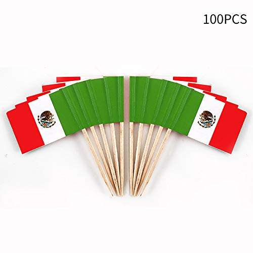JAVD CYPS 100 Pcs Mexico Flag Mexican Toothpick Flags, Small Mini Stick Cupcake Toppers Mexican Flags,Country Picks Party Decoration Celebration Cocktail Food Bar Cake Flags