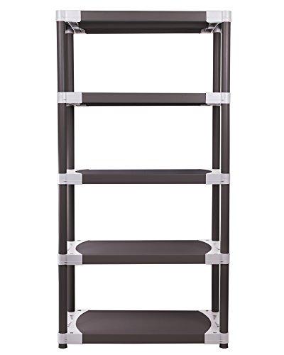 Ondis24 stabiles Kunststoffregal Schwerlastregal Lagerregal 115 x 40 x 168 (H) cm, 5 Böden, 300kg Belastbarkeit, schwarz