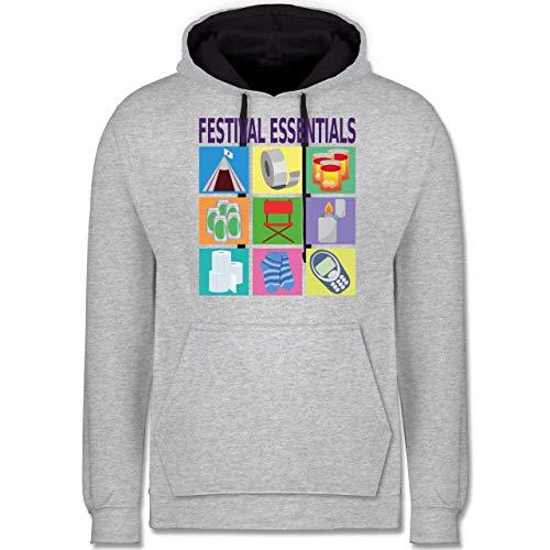 Shirtracer Statement - Festival Essentials Basics - XL - Grau meliert/Navy Blau - Festival - JH003 - Hoodie zweifarbig und Kapuzenpullover für Herren und Damen