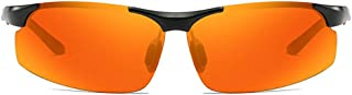 FAGavin - FAGavin Gafas De Sol UV400 Polarizadas for Uso Deportivo, De Aluminio Y Magnesio, De Doble Uso, con Montura Negra, Lentes Naranjas, Gafas De Sol De Conducción for Hombres