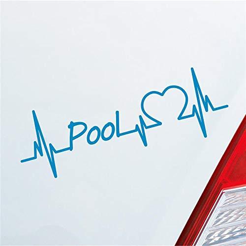 Auto Aufkleber Pool Herzschlag Billard Kugel Queue Sport Sticker Liebe Hellblau