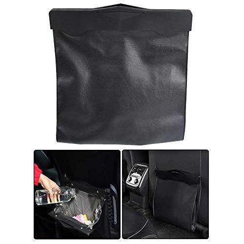 Bil sopkorg, bil sopsäcksförvaring, soppåse bakom bilsätet, med magnetiskt spänne, PU-läder, kan förseglas, för förvaring av plastpåsar (svart)