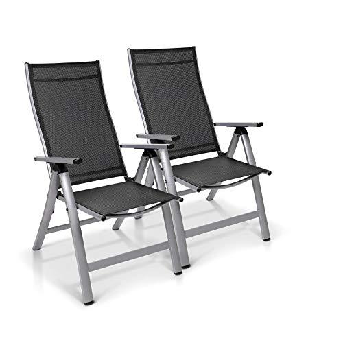 Homeoutfit24 Sun Garden Premium Line 2er Set Gartenstuhl - Hochlehner London in Silber, Klappsessel aus Aluminium