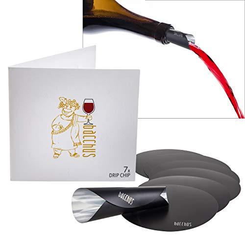 Bacchus® Drip Chip [7 Stück] Wein Disc | Ausgießer, Einschenkhilfe Weinzubehör | No Drop Tropfen Stop für Weinflaschen