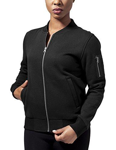 Urban Classics Damen Ladies Sweat Bomber Jacket Jacke, Schwarz (Black 7), 36 (Herstellergröße: S)
