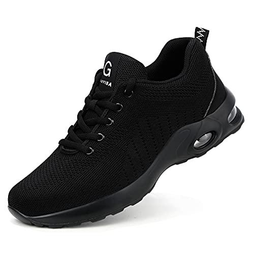 DRECAGE Chaussures de Sécurité Femmes Hommes Basket Securite Legere avec Embout en Acier Protection Antidérapante Anti-Perforation Chaussures de Travail Noir 41 EU