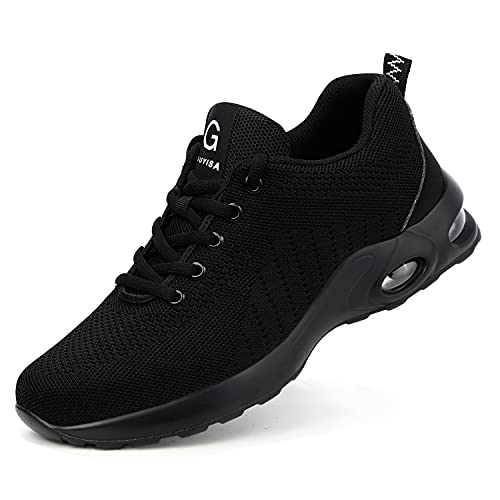 Zapatillas de Seguridad Hombre Mujer Antideslizante Transpirable Punta de Acero Zapatos Ligero Zapatos de Trabajo Calzado de Trabajo Ultra Liviano Suave y Cómodo Deportes Unisex Negro 47 EU