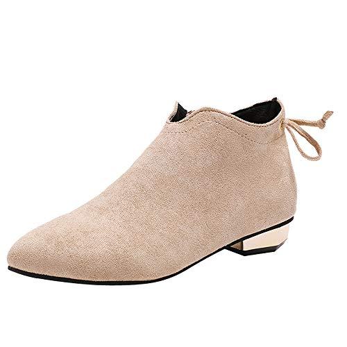 Honestyi Bottes Femme Zipper Chaussures à Talons Bas Pointu Suede Boots Classiques Casual Bottillons Chaussures de Travail Respirant Shoes Chaussures de Outdoor Bottes