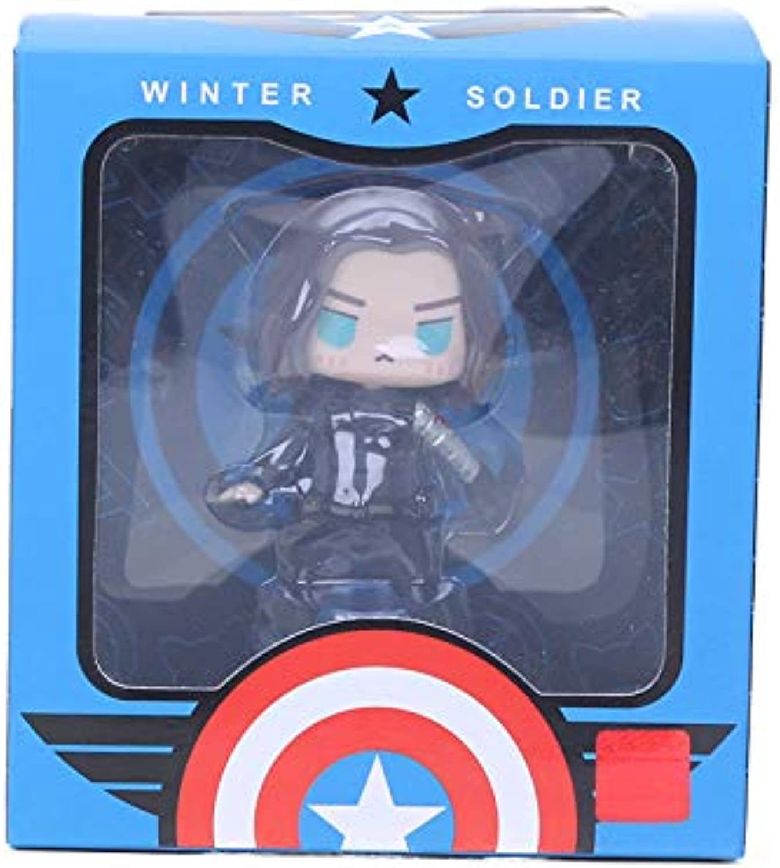 8-10cm Marvel Toys The Avengers Figure Q Version Superhero Captain America Winter Soldier Spiderman Figures Collectible Model