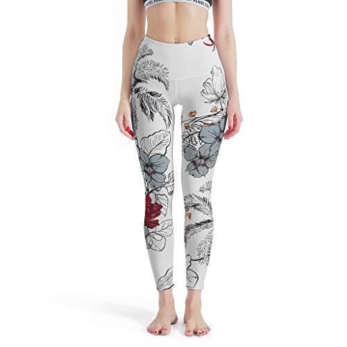 Leggings elásticos para mujer, diseño de flores y pájaros, ideales para pilates, color blanco, 2XL