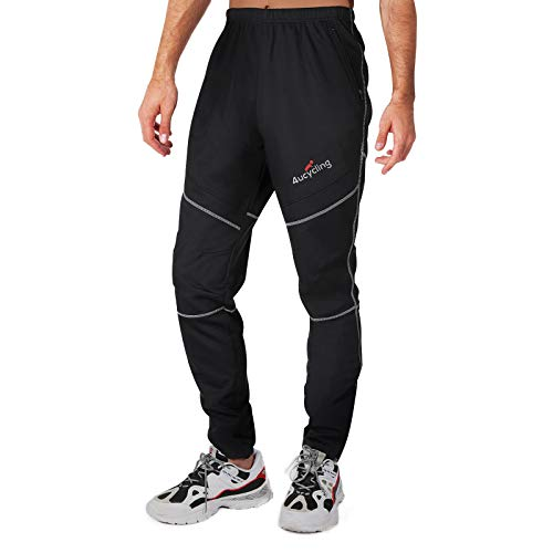 4ucycling Mens Fleeced Windstopper Cycling Pants for Casual Outdoor and Multi Sports (Black, 4XL)