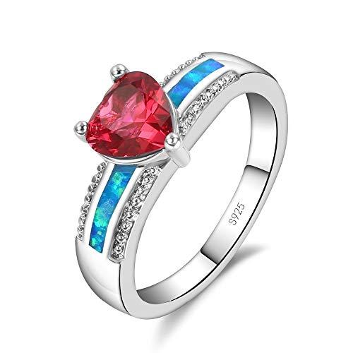 IWINO Driehoek Rood Kristal Blauw Vuur Opaal Ringen Voor Vrouwen Met Zirconia 925 Sterling Zilver Bruids Trouwring Sieraden