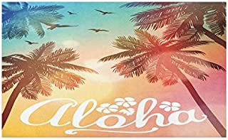 Lunarable Exotic Doormat, Palm Trees with Birds on Colorful Bokeh Effect Background with Aloha Word Lettering, Decorative Polyester Floor Mat with Non-Skid Backing, 30