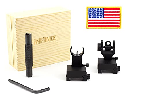 INFINIX Super Fast Flip Up Iron Sights, Includes Front Sight Adjustment Tool and Extra Metal Replacements, Rapid Transition Front and Rear Backup Iron Sight BUIS for Picatinny and Weaver Rails
