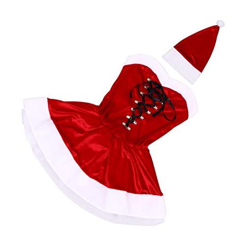 KESYOO 2Pcs Navidad Mujer Vestido Sexy Disfraz Sexy de Santa Claus con Sombrero de Navidad Mujer Traje de Rendimiento de Navidad Trajes de Navidad para Favor de Fiesta Disfraz de