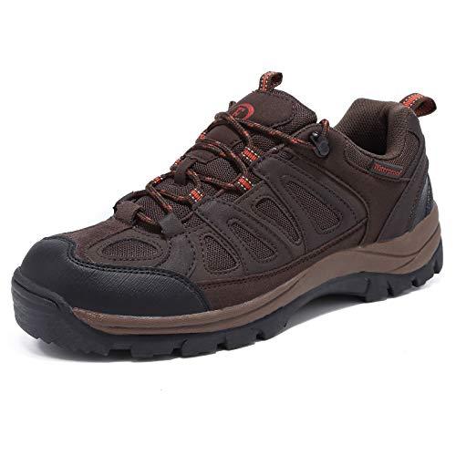 EYUSHIJIA Mens Hiking Boots Waterproof Outdoor Non-Slip Sneakers Low Top Trailing Trekking Walking Shoes(9, Brown-01)