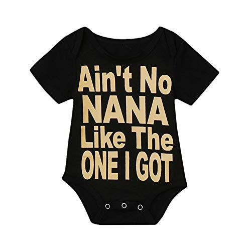 Hatoys Cute Baby Girls Boy Nana Print Bodysuit Jumpsuit Sunsuit Clothes Romper (6-12Months, Black)