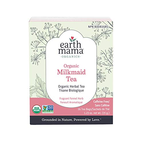 Organic Milkmaid Tea by Earth Mama   Supports Healthy Breastmilk Production and Lactation, Herbal Breastfeeding Tea Supplement, 16 Teabags per Box (3-Pack)
