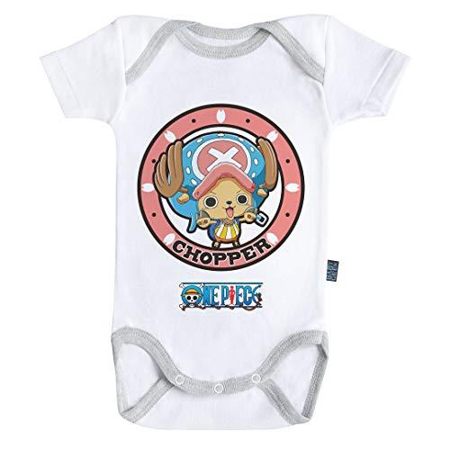 Baby Geek Emblème Chopper - One Piece ™ - Licence Officielle - Body Bébé Manches Courtes (6-12 Mois)