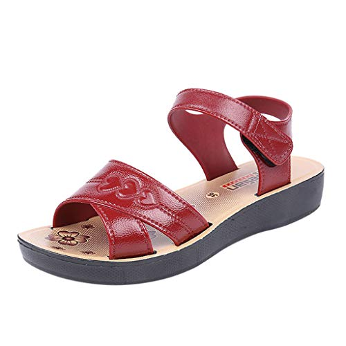 Fantastic Prices! Women Summer Sandals Women Wedge Sandals Fashion Fish Mouth Hollow Roma Shoes Red