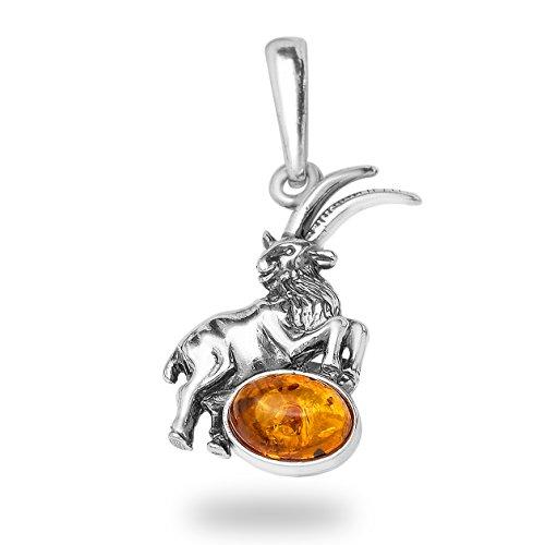 -Schmuckset-Handgefertigt Steinbock Sternzeichen Bernstein Anhänger mit 925 Silber Damen Herren Horoskop #1750 (Steinbock)