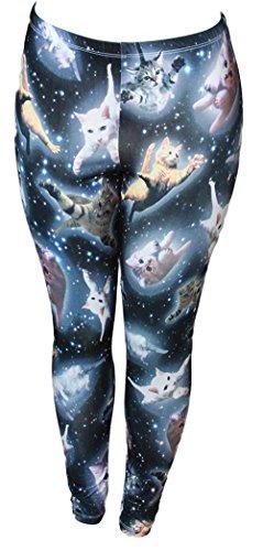 Freeze Cute Space Kitten Ladies Leggings SmallBlack