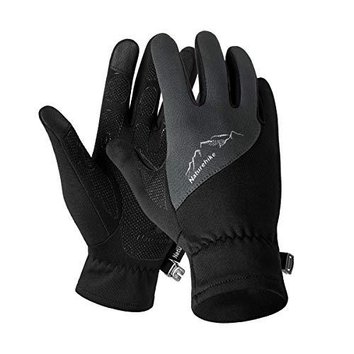 Naturehike Guantes de forro polar para deportes al aire libre, guantes de pantalla táctil para escalar, correr, ciclismo, guantes antideslizantes (gris L)