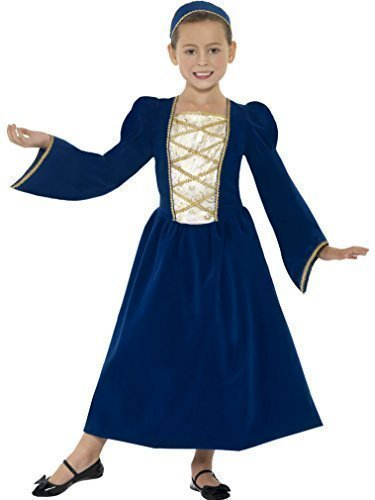 Girls Child's Blue Rich Tudor Princess Book Day Week Fancy Dress Age 10-12