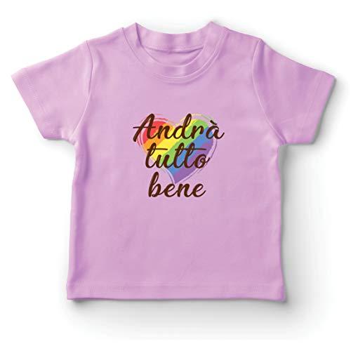 lepni.me Maglietta per Bambini/Ragazzi Andrà Tutto Bene - Tutto Andrà Bene Arcobaleno di Speranza (5-6 Years Rosa Multicolore)