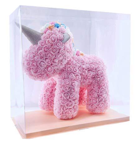 SUPERMOLON Unicornio Rosas 40cm con Caja Regalo Original - Unicornio de Flores 40cm de Rosas Artificiales Foam - Regalo San Valentín, Cumpleaños, Enamorados - Entrega en 24h (Rosa)