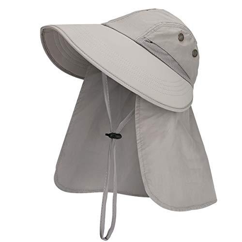 E-More Sombrero para el Sol para Mujer, Sombrero para el Sol de Verano con protección UPF 50+ para Mujer con Solapa en el Cuello, Sombrero de Tapa rápida Transpirable Plegable de ala Ancha