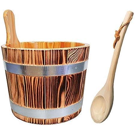 SudoreWell® Kit seau de sauna en bois de mélèze,flammé et une louche - accessoires pour sauna