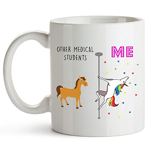 YouNique Designs Medical Student Coffee Mug, 11 Ounces, Unicorn Mug, Med School Gifts (White)