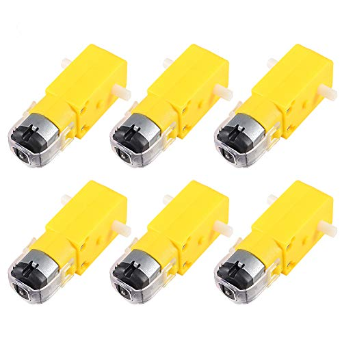 Aoicrie 6 PCS DC Electric Motor 3V-6V Dual Shaft Geared TT Magnetic Gearbox Engine,DIY for Arduino Smart Car Robot Toys Cars Chassis Models Vibration Products (I Shape 1:48 Reduction Ratio)