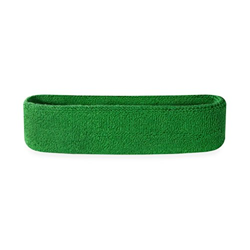 Suddora Kids Headband - Soft Terry Cloth Sports Head Sweatband for Youth Basketball, Soccer and More (Green)