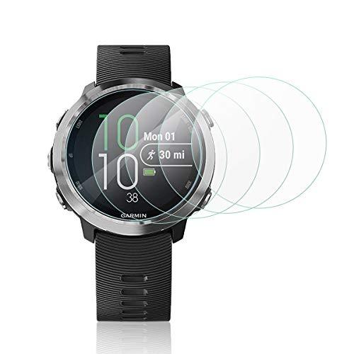 MWOOT 4 Stück Schutzfolie aus Glas für Garmin Forerunner 645, LG Watch Style & ASUS Zenwatch 3,9H Festigkeit Kratzfest Bildschirmschutzglas