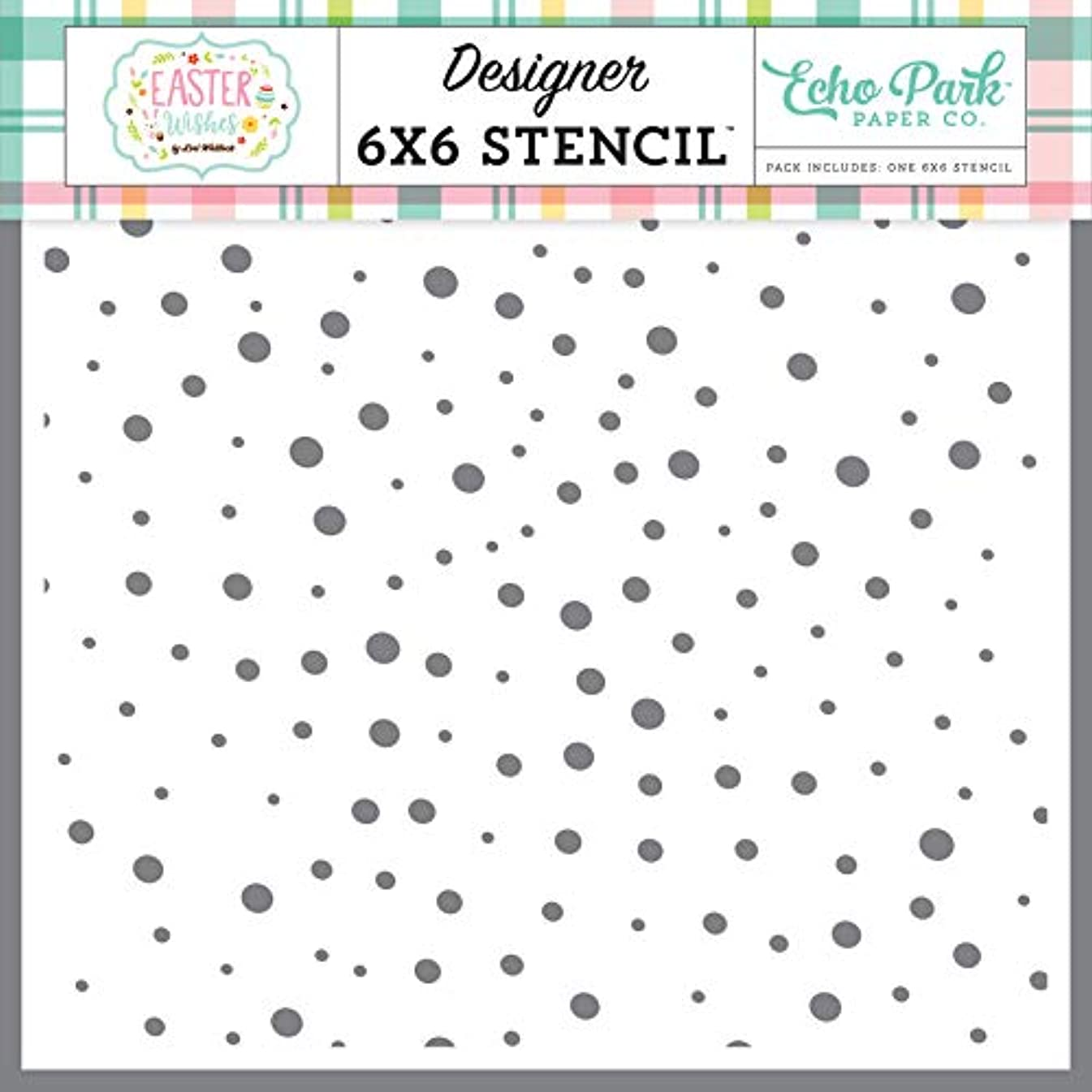 Echo Park Paper Company Speckled Egg Stencil, Pink, Yellow, Teal, Green, Brown, Orange