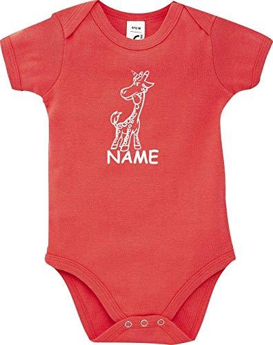 Shirtstown Body Bébé Drôle Animal Nom Souhaité Einhorngiraffe,Licorne,Girafe - Rouge, 18-24 Monate