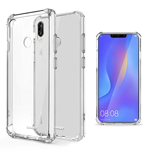 Moozy Funda Silicona Antigolpes para Huawei P Smart Plus 2018 - Transparente Crystal Clear TPU Case Cover Flexible