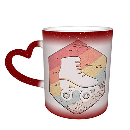 Retro 70er Jahre Rollschuh Farbwechsel Sternenhimmel Becher Herzförmige Kaffee Magic Mug
