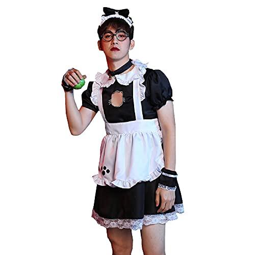 BellaPunk Damen Herren French Maid Cosplay Kleid Sexy Uniform Dress Niedlich Lolita Kostüm (Katze, x_l)