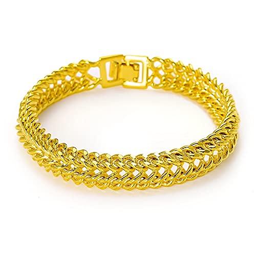 Pulsera de los hombres de la cadena clásica de la muñeca de 18k chapado en oro amarillo de la joyería masculina vintage accesorios sólidos